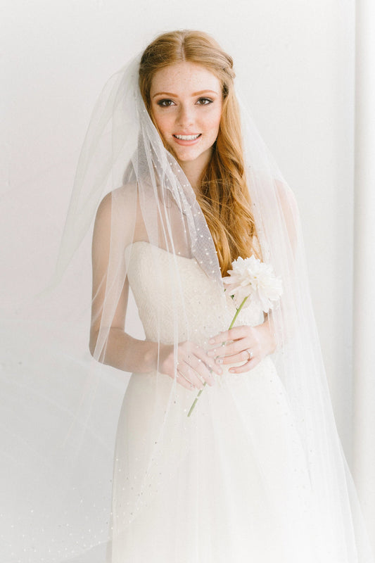 Crystal edge bridal veil