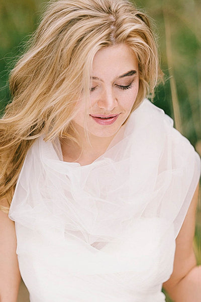 Sheer tulle bridal wrap
