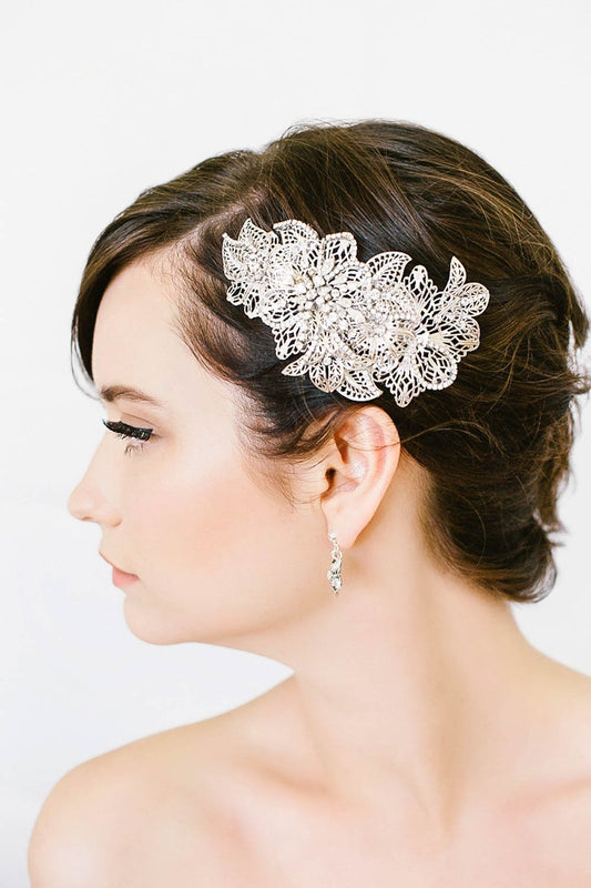 Vintage inspired crystal and filigree hair clip