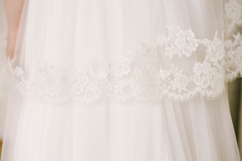 Delicate lace veil with crystal detailing | Sara Gabriel Veils