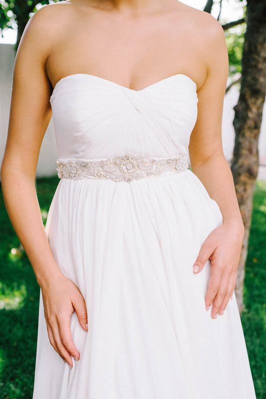 Crystal and pearl bridal sash | Sara Gabriel