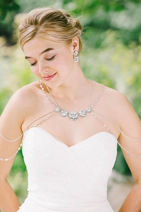 Customize your bridal gown | Sara Gabriel shoulder jewelry with Swarovski crystals and pearls