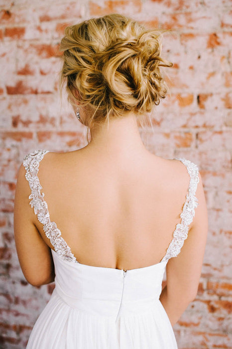 Customize your strapless gown! | Pearl and crystal beaded bridal straps | Sara Gabriel