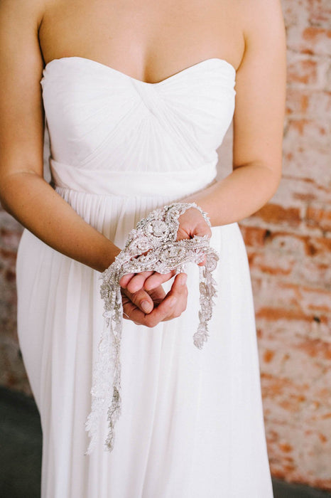 Accessorize your strapless gown! | Pearl and crystal beaded bridal straps from Sara Gabriel