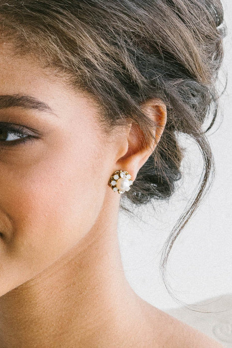 Pearl and crystal stud earrings | Sara Gabriel