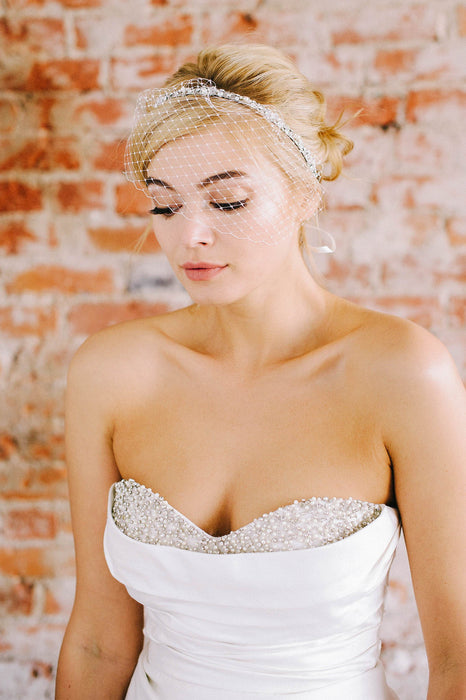 Tie-on birdcage veil with delicate crystal and pearls | Sara Gabriel