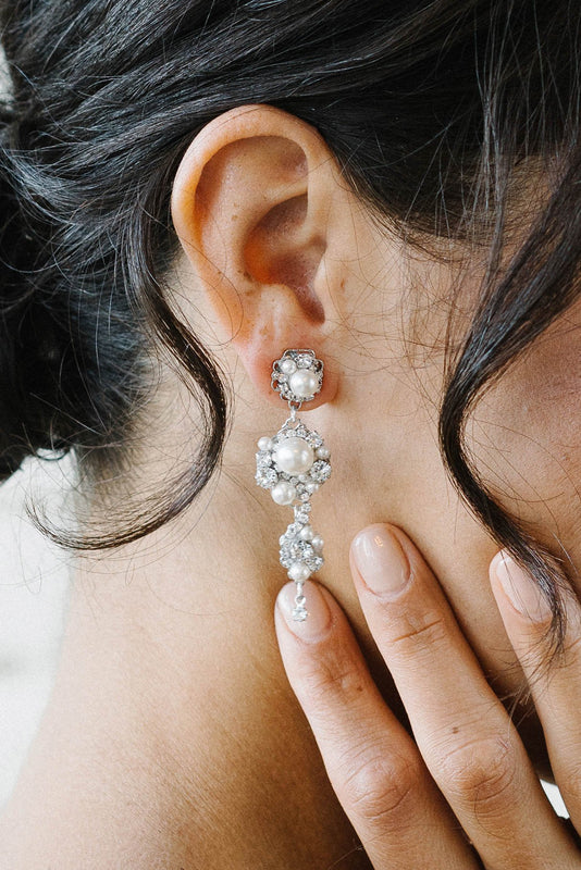 Playful crystal and pearl drop earrings | Sara Gabriel