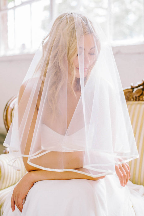 Sweet and sophisticated silk ribbon trim bridal veil | Sara Gabriel