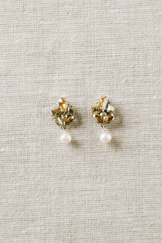 Dainty champagne crystal and pearl earrings | Sara Gabriel