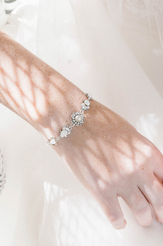 Opal, crystal and pearl bridal bracelet | Sara Gabriel