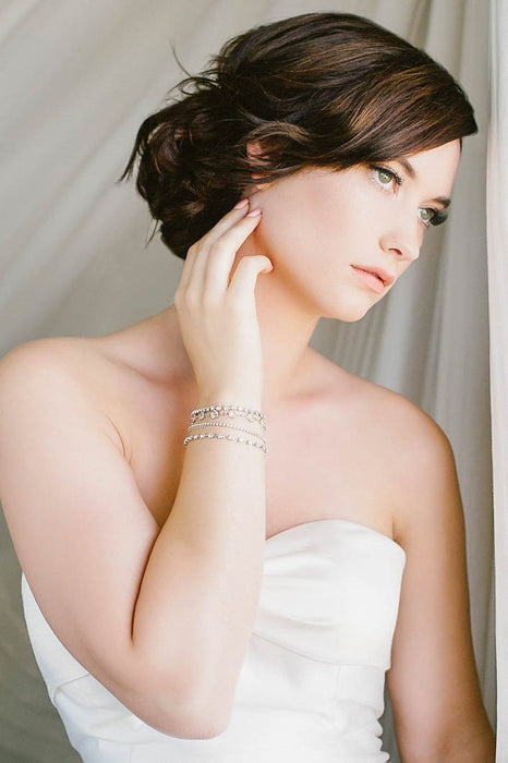 Crystal-set chain bridal bracelet | Sara Gabriel
