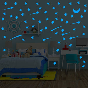 Luminous Wall Stickers of  Stars, Meteors and Moons