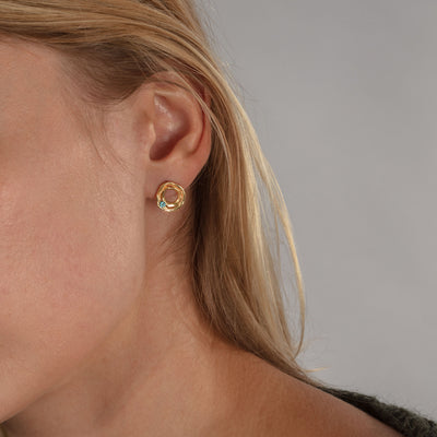DISTORTION 1 Stone Stud Earrings in Silver & Gold Plated Silver