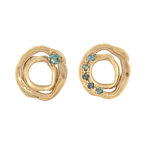 DISTORTION Combo Stud Earrings in Silver & Gold Plated Silver