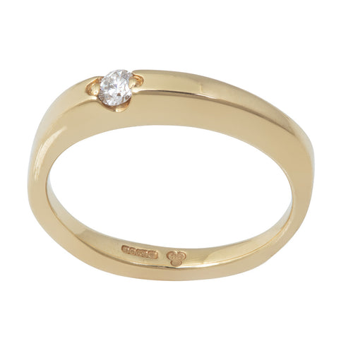 BRIDAL Floating Diamond Thick Ring in Gold & Platinum