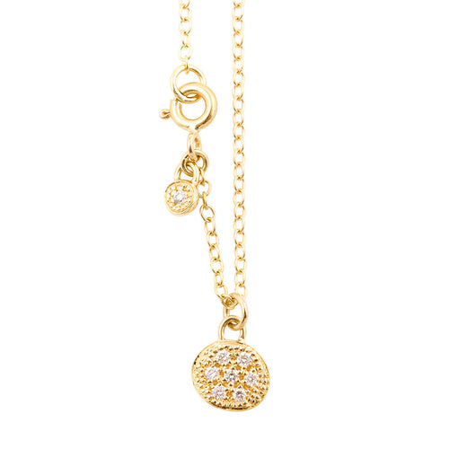 MODERN PAVE 7 Diamonds Necklace in 18ct Gold
