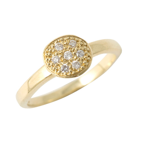 BRIDAL MODERN PAVE 7 Diamonds Ring in 18ct Yellow Gold
