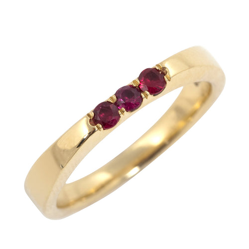 BRIDAL Parallel With Rubies Ring in Gold & Platinum