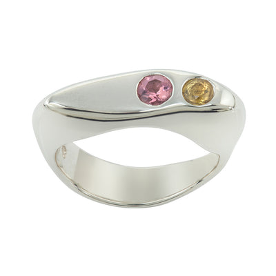 CELEBRATION RINGS Vision II Ring with Pink Tourmaline & Yellow Sapphire in Silver
