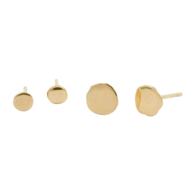 Genderless Large & Small Stud Earrings in 18ct Yellow Gold