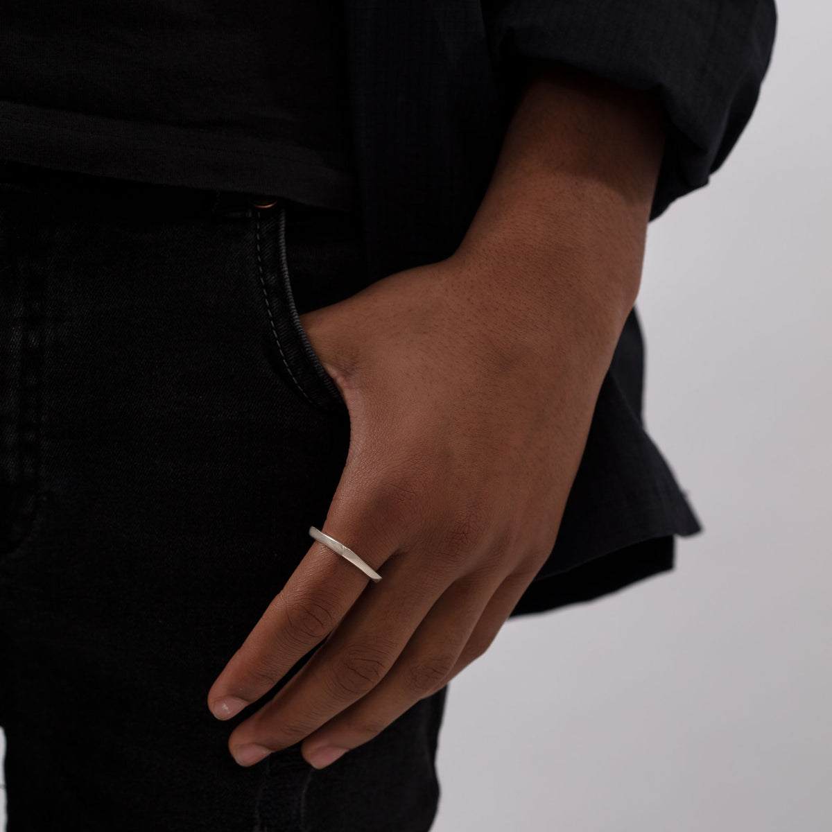 MEN Square Ring in Silver