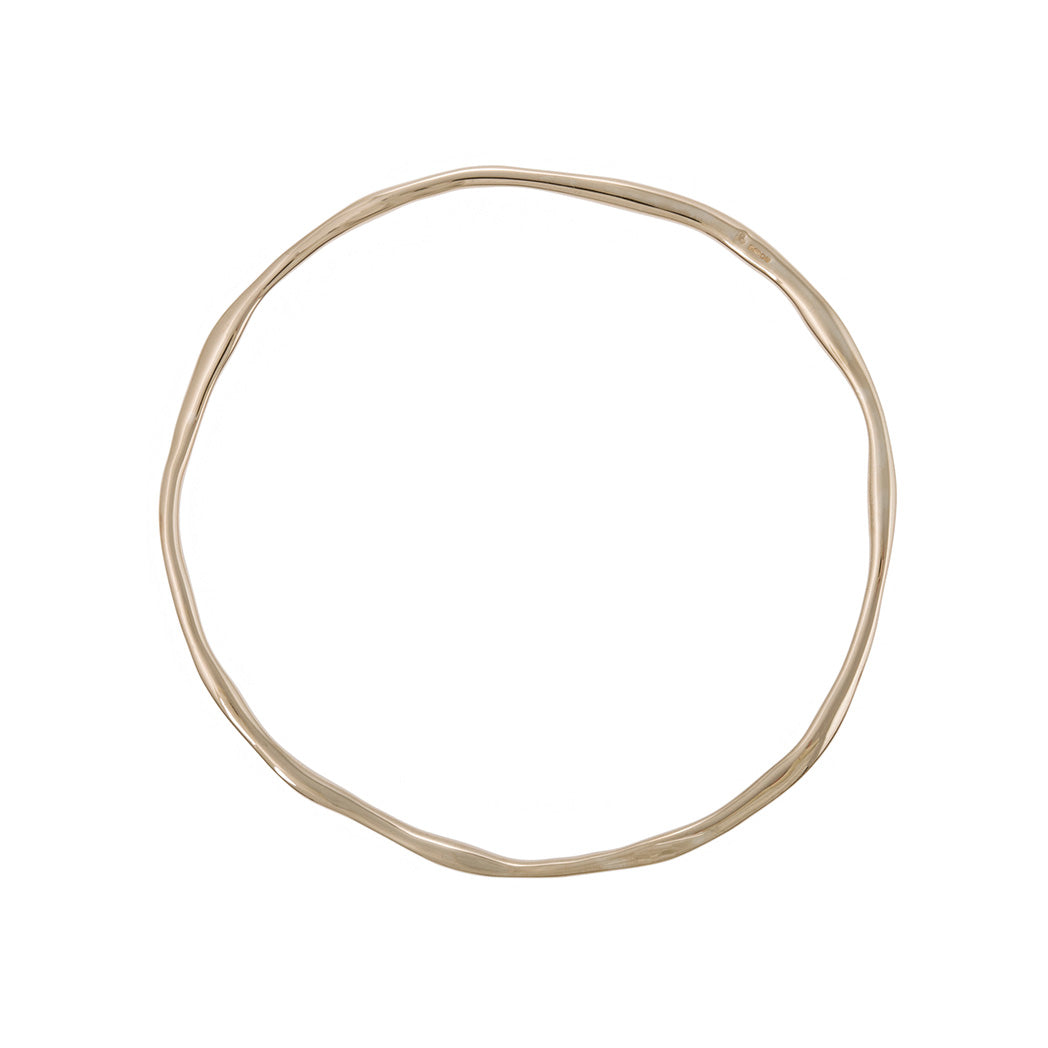 sophisticated organic styled shape bangle in 9carat 9ct 9k gold