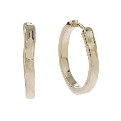 unusual elegant organic shaped hoop earrings in 9 carat white gold