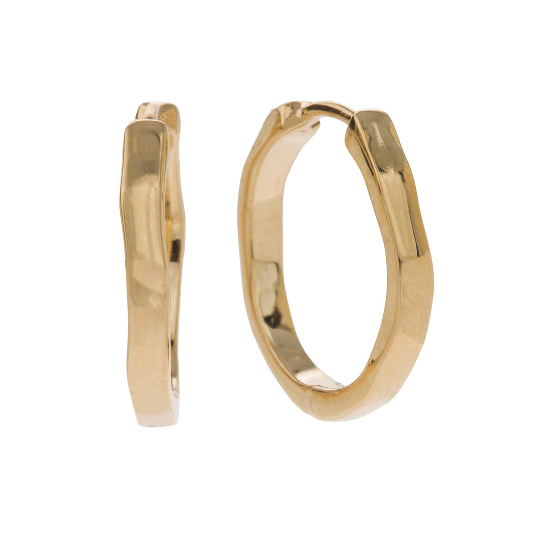 modern organic shaped hoop earrings without stone in 9 carat yellow gold  Edit alt text