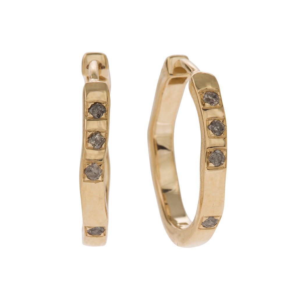 elegant organic shaped hoop earring in 18 carat yellow gold with grey diamonds  Edit alt text