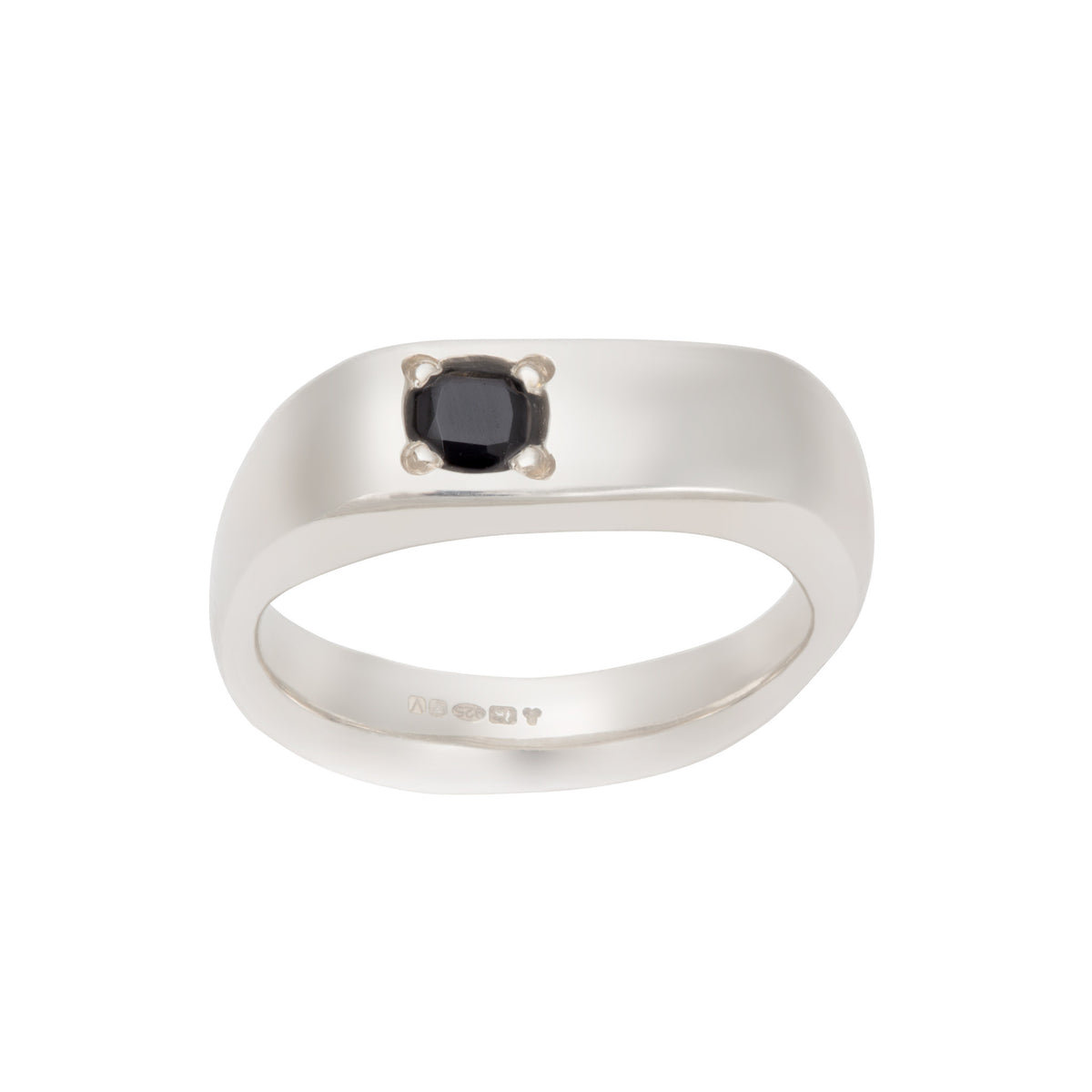 Genderless Small Ring in Silver with Black Spinel