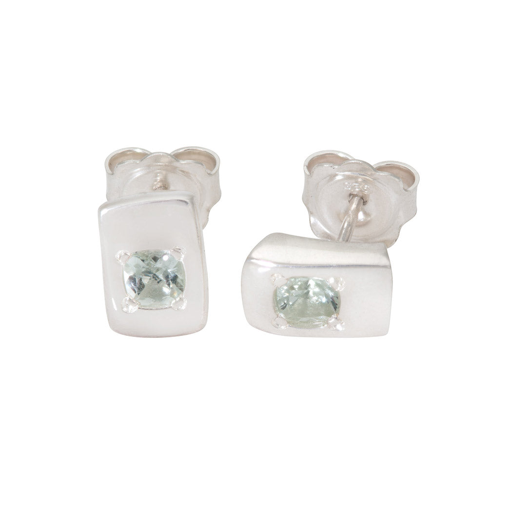 CONNECTIONS Small Stud Earrings in Silver with Green Quartz