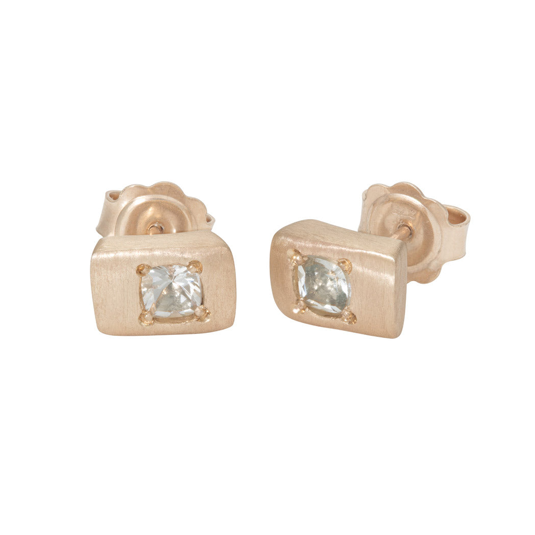 CONNECTIONS Small Stud Earrings in 9carat Yellow Gold and Green Quartz
