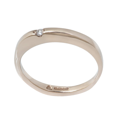 BRIDAL Floating Diamond Thin Ring in Gold & Platinum