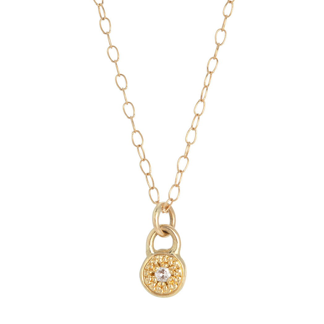 MODERN PAVE 1 Diamond Necklace in Gold