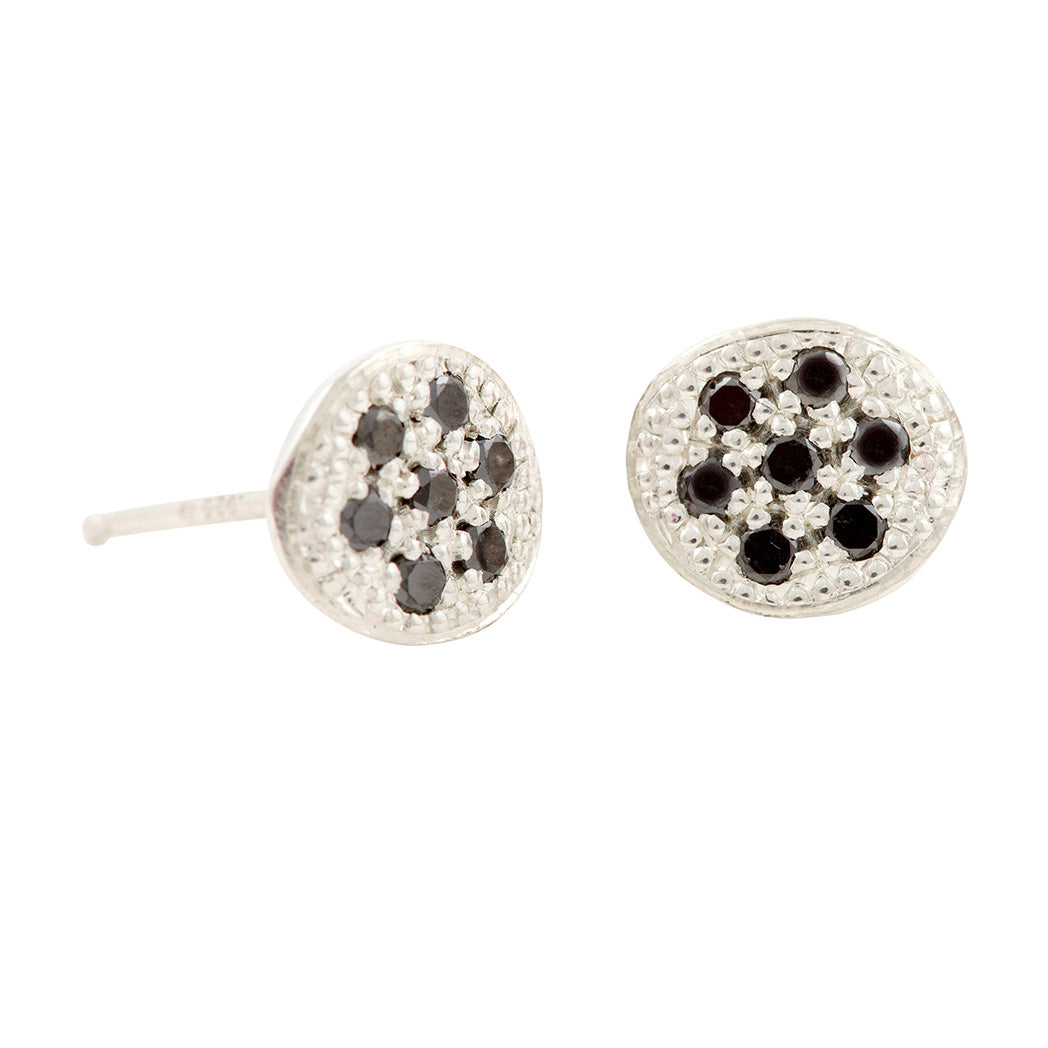 MODERN PAVE 7 Diamonds Stud Earrings in Silver