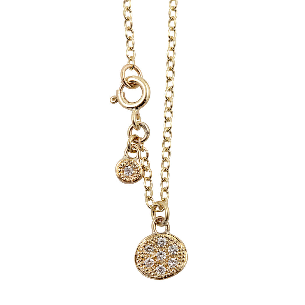 MODERN PAVE 7 Diamonds Necklace in 9ct Gold