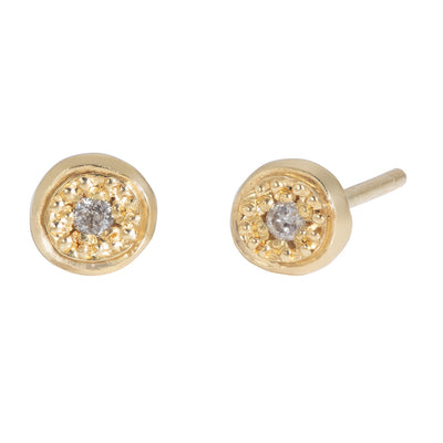 MODERN PAVE Small Stud Earrings with Grey Diamond in Gold