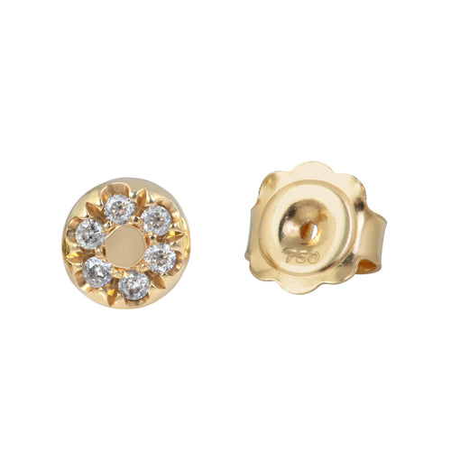 Modern Pave Diamond Love Stud Earring in 18ct Yellow Gold
