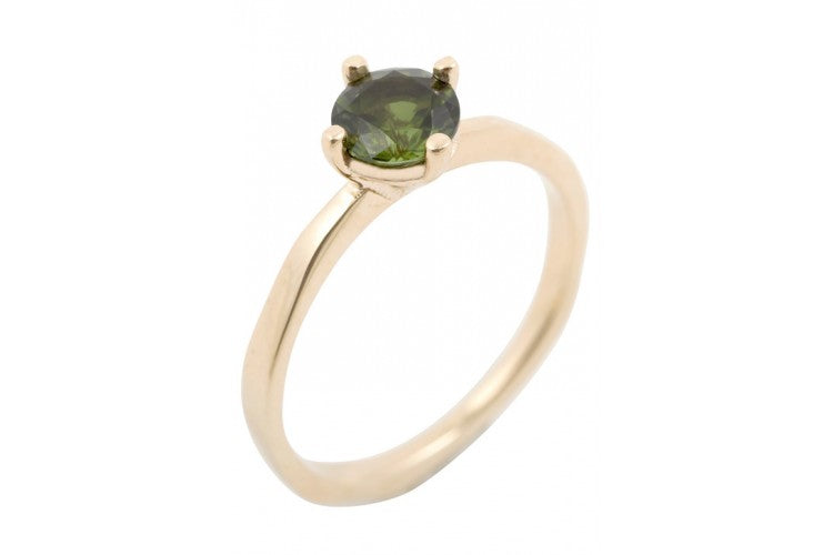 BRIDAL QUEEN Ring with Green Tourmaline in Gold