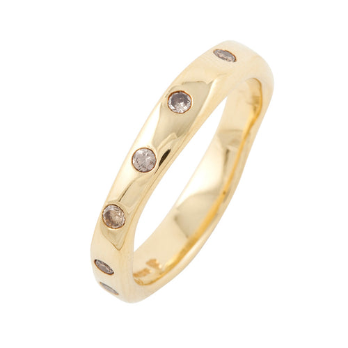 BRIDAL Together With 11 Brown Diamonds Ring in Gold & Platinum