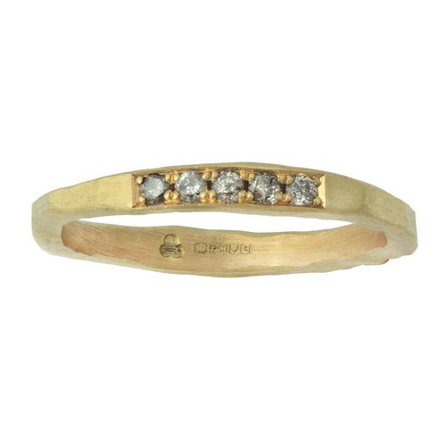 Trust Ring with 5 Grey Diamonds in Yellow or White Gold or Platinum