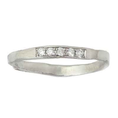 Trust Ring with 5 White Diamonds in Yellow or White Gold or Platinum