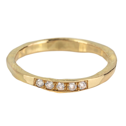 Trust Ring with 5 White Diamonds in Gold