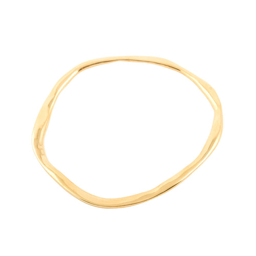 handcrafted unusual organic styled shape bangle in gold plated starling silver