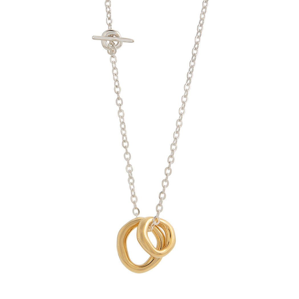UNITY Simple Necklace with Large Pendant in Silver & Gold Plated Silver