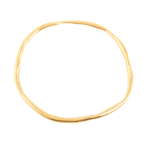 unique organic shaped solid silver bangle in gold plated starling silver unsex design made in uk  Edit alt text