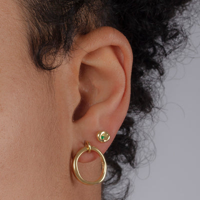 Genderless Round Stud Earrings in 18ct Yellow Gold