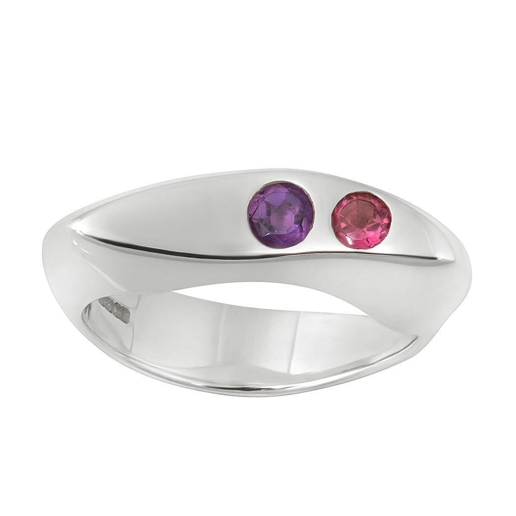 CELEBRATION RINGS Vision II Ring with Pink Tourmaline & Amethyst in Silver