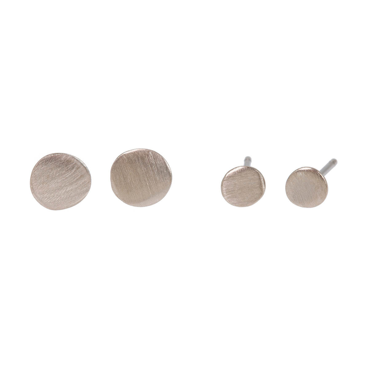 Genderless Large & Small Stud Earrings in 18ct White Gold
