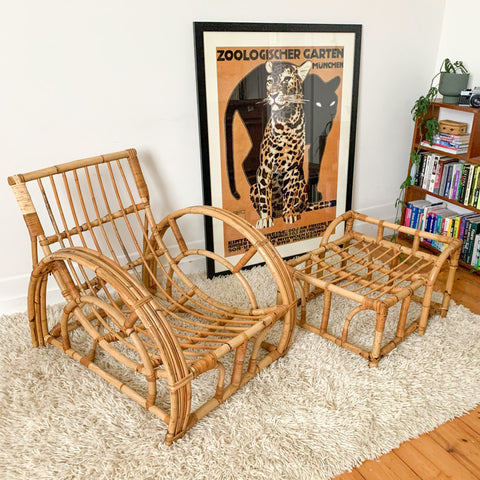 RATTAN HALF MOON ARMCHAIR & FOOTREST #1 - HEY JUDE WORKSHOP • Vintage furniture & wares.